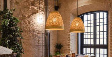 Lámpara hecha de bamboo
